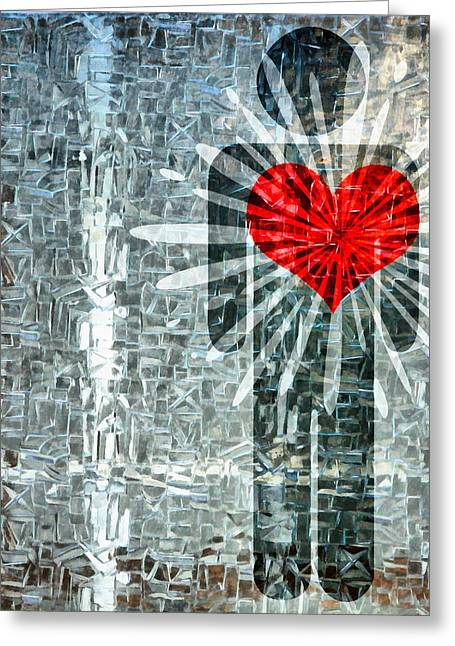 Sharing Mixed Media Greeting Cards - His Strength Of Heart Greeting Card by Angelina Vick