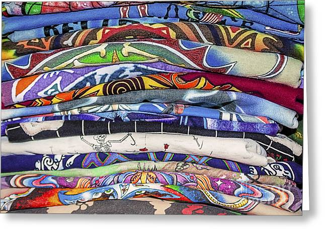 Textile Photographs Greeting Cards - His TShirt Collection Greeting Card by Janice Rae Pariza