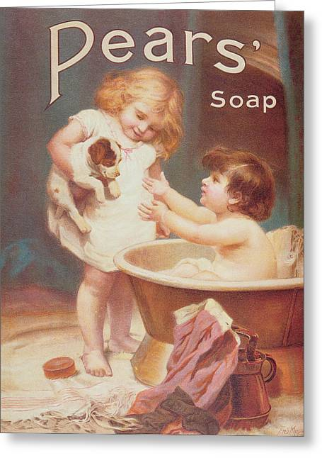 Bathing Greeting Cards - His Turn Next, From The Pears Annual Greeting Card by Emile Munier