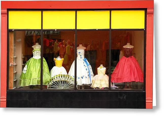 Dress Greeting Cards - Hispanic Dress Shop Greeting Card by Jim Hughes