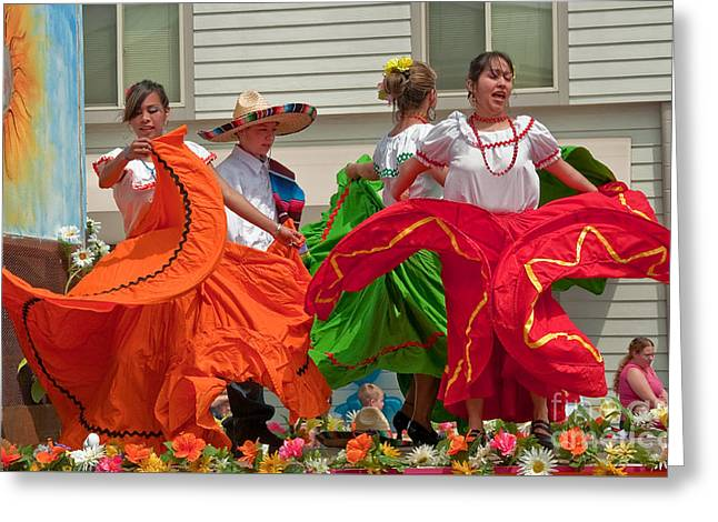 Recently Sold -  - Berry Greeting Cards - Hispanic Women Dancing in Colorful Skirts Greeting Card by Valerie Garner