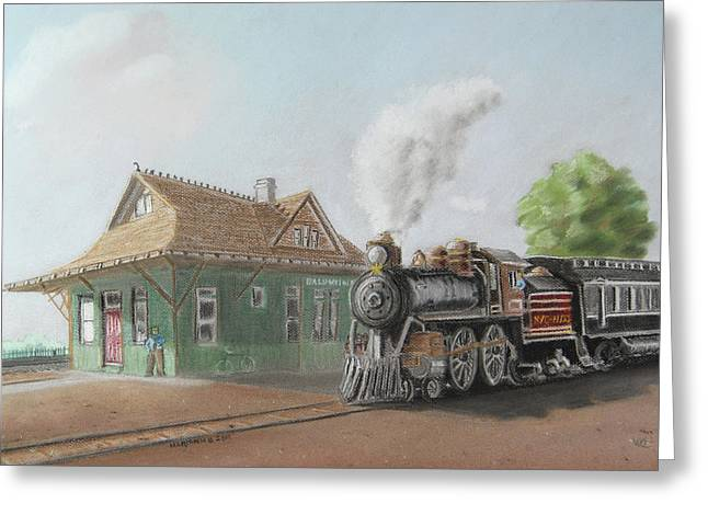 Small Towns Pastels Greeting Cards - Historic Baldwinsville Train Station Greeting Card by Marianne Miles