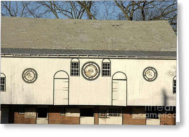 Painted Wood Greeting Cards - Historic Barn with Hex Signs in Pennsylvania Greeting Card by Anna Lisa Yoder