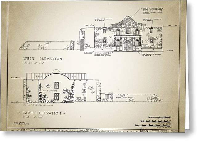 Surveys Greeting Cards - Historic Building Survey - The Alamo Greeting Card by Digital Reproductions