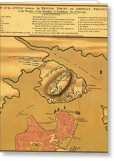Historic Bunker Hill Battleground Map 1775 Greeting Card by Mountain Dreams