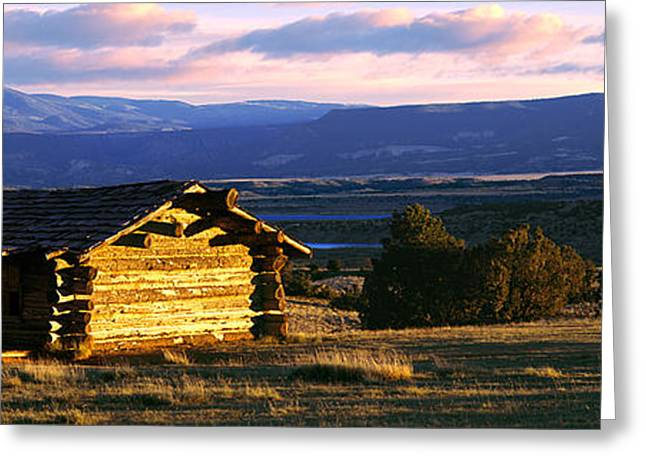 Mountain Cabin Greeting Cards - Historic Cabin At Ghost Ranch, Abiquiu Greeting Card by Panoramic Images