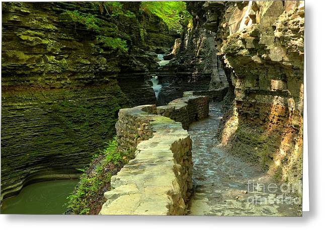 Watkins Glen New York Greeting Cards - Historic Canyon Trail Greeting Card by Adam Jewell