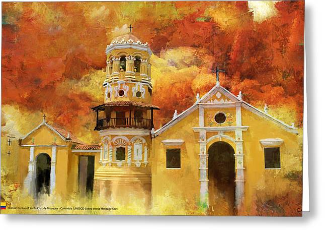 Santa Cruz Paintings Greeting Cards - Historic center of santa cruz de mompox Greeting Card by Catf