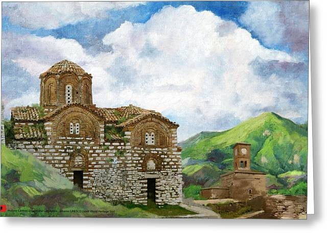Historic Statue Paintings Greeting Cards - Historic Centers of Berat and Gjirokastra Greeting Card by Catf