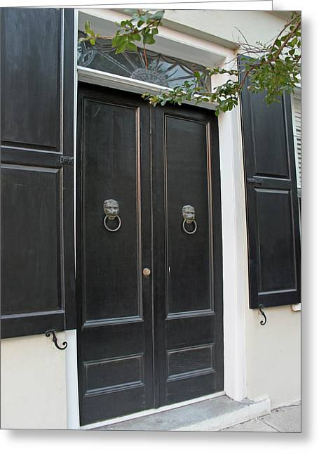 French Doors Greeting Cards - Historic Charleston Doors Greeting Card by Suzanne Gaff