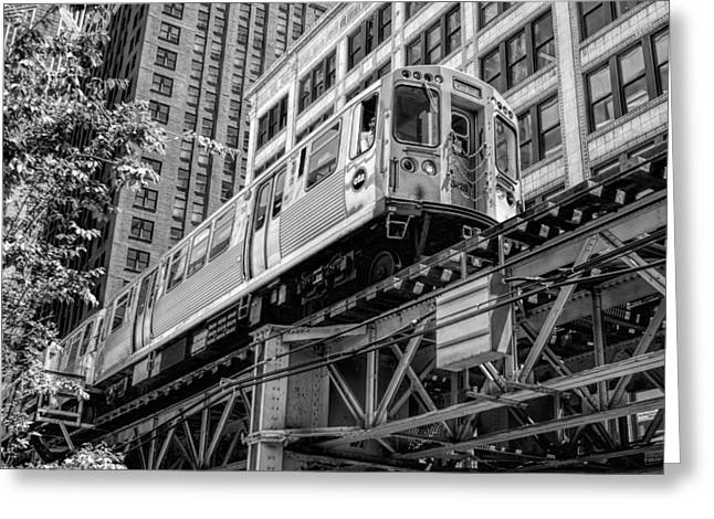 Chicago Landmark Greeting Cards - Historic Chicago El Train Black and White Greeting Card by Christopher Arndt