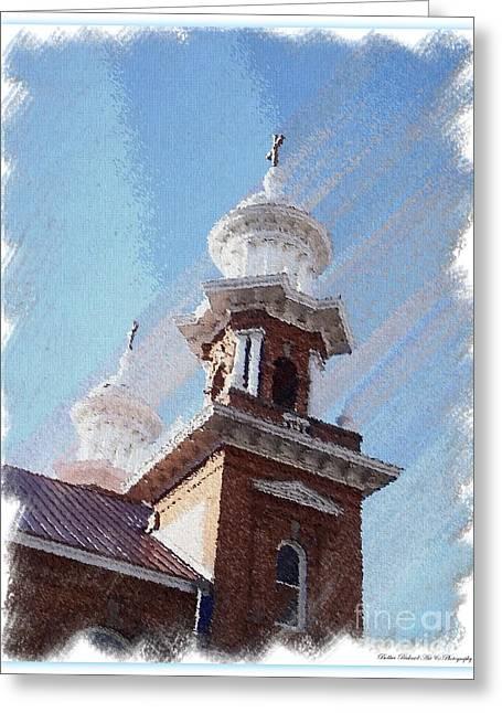 Acrylic Art Greeting Cards - Historic Church Steeples Greeting Card by Bobbee Rickard