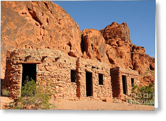 Civilians Greeting Cards - Historic Civilian Conservation Corps Stone Cabins in the Valley of Fire Greeting Card by Gary Whitton
