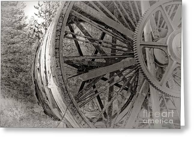 Log Cabin Photographs Digital Greeting Cards - Historic Crusher Drum Greeting Card by Dianne Phelps