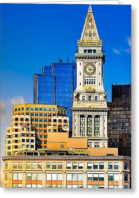 Boston Ma Photographs Greeting Cards - Historic Custom House Clock Tower - Boston Skyline Greeting Card by Mark Tisdale