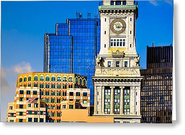 Historic Custom House Clock Tower - Boston Skyline Greeting Card by Mark Tisdale