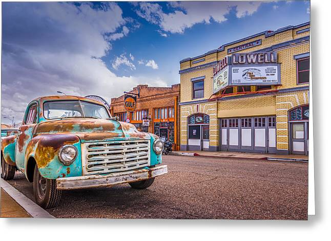 White Truck Greeting Cards - Historic Downtown 4 Greeting Card by Jon Manjeot