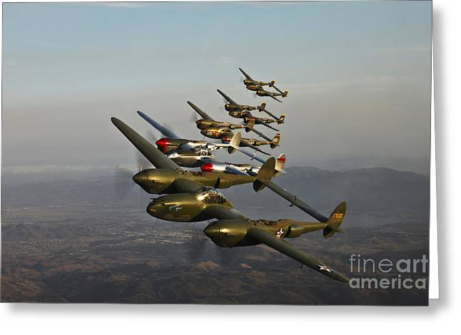 Best Sellers -  - Cooperation Greeting Cards - Historic Flight Of Five Lockheed P-38 Greeting Card by Scott Germain