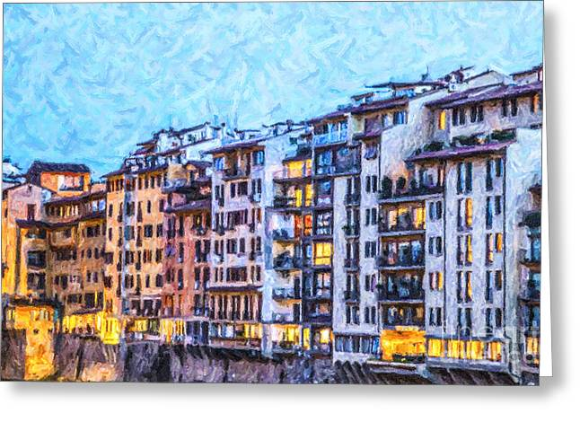Tuscany Greeting Cards - Historic Florentine apartments Greeting Card by Liz Leyden