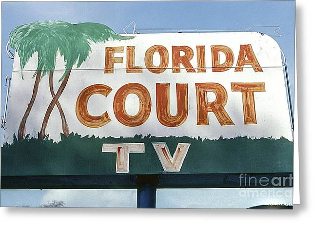 Historic Florida Motor Court Sign In Delray Beach. Florida. Greeting Card by Robert Birkenes