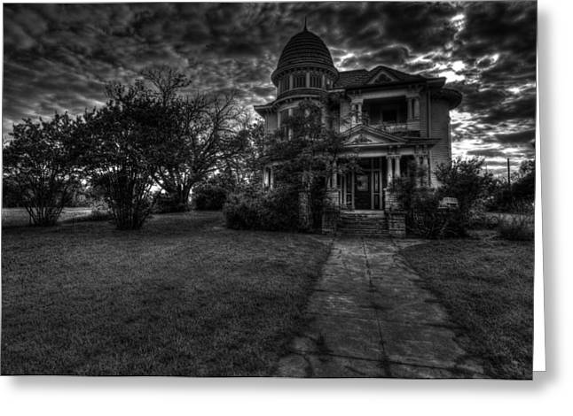 Historic Home Greeting Cards - Black and White Historic Fort Worth Home Greeting Card by Jonathan Davison