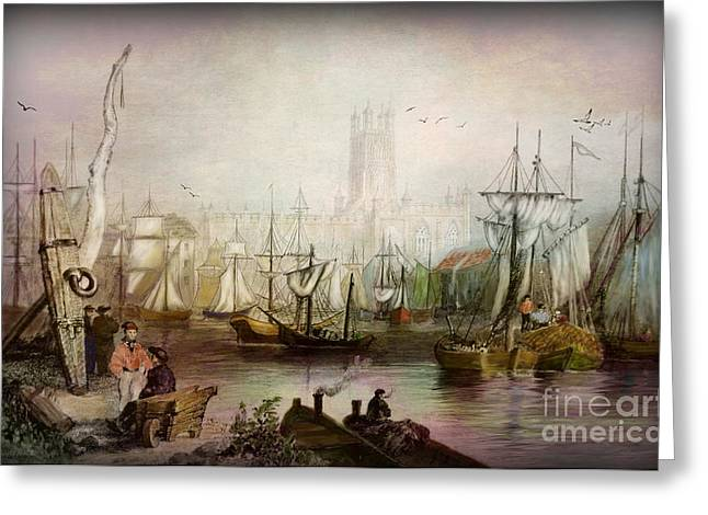 Historic Ship Greeting Cards - Historic Gloucester - UK circa 1840 Greeting Card by Lianne Schneider
