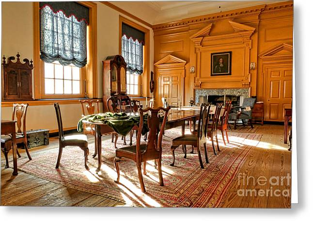 Phila Photographs Greeting Cards - Historic Governor Council Chamber Greeting Card by Olivier Le Queinec