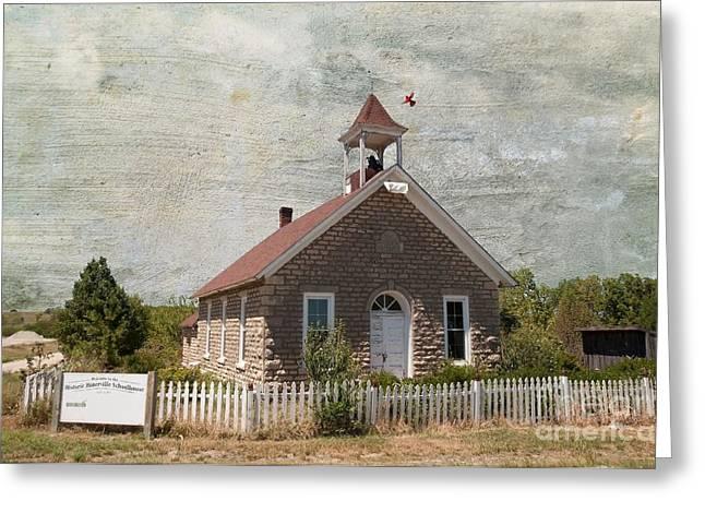 One Room School Houses Digital Greeting Cards - Historic Hinerville School  House  Greeting Card by Liane Wright