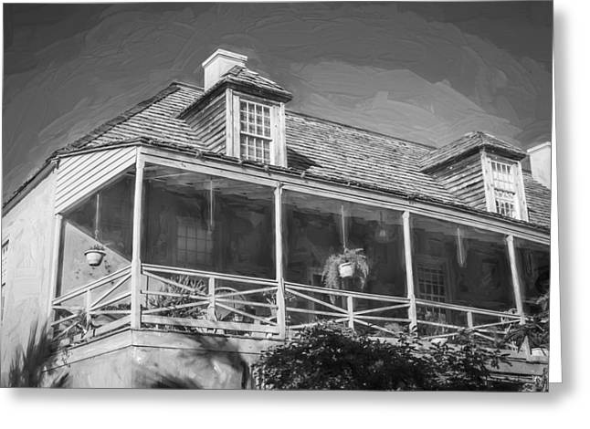 Wooden Shutter Greeting Cards - Historic Homes of St Augustine Painted BW Greeting Card by Rich Franco