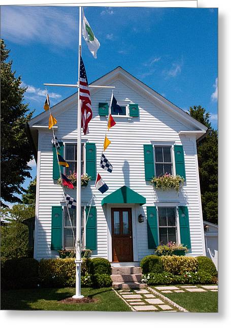 Geobob Greeting Cards - Historic House and Nautical Signal Flags Stoney Creek Harbor near North Haven Connecticut Greeting Card by Robert Ford