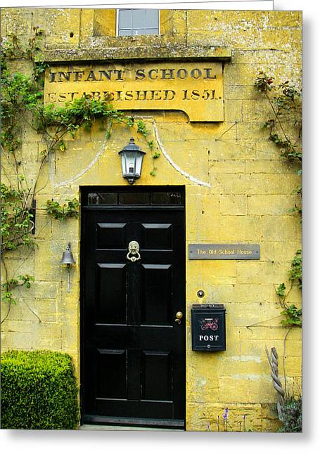 Geobob Greeting Cards - Historic Infant School Entrance and Door Broadway Village Cotswold District England Greeting Card by Robert Ford