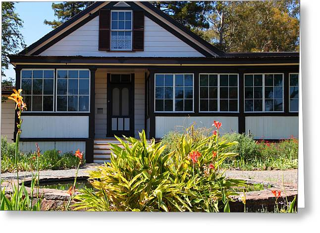 Bay Area Flowers Greeting Cards - Historic Jack London Cottage and Garden in Glen Ellen California 5D24556 square Greeting Card by Wingsdomain Art and Photography