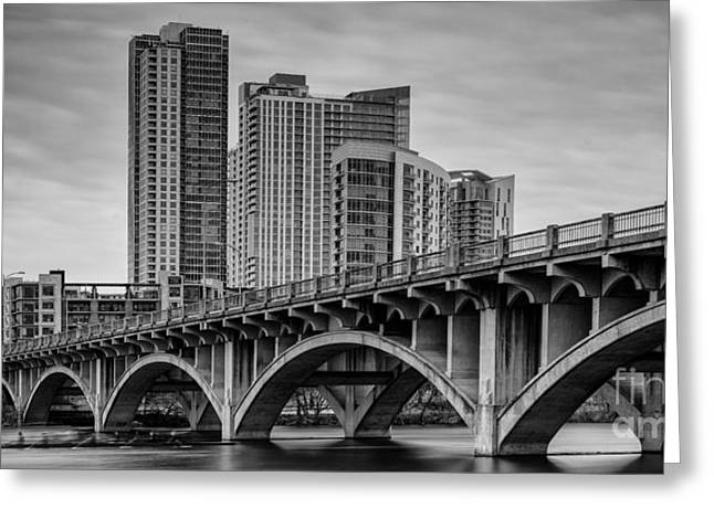 Ladies Bike Greeting Cards - Historic Lamar Boulevard Bridge in Black And White - Austin Texas Hill Country Greeting Card by Silvio Ligutti