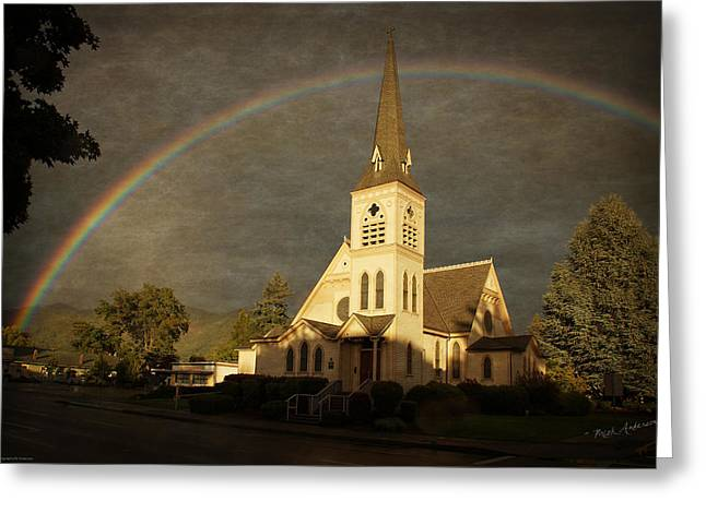 Mick Anderson Greeting Cards - Historic Methodist Church in Rainbow Light Greeting Card by Mick Anderson