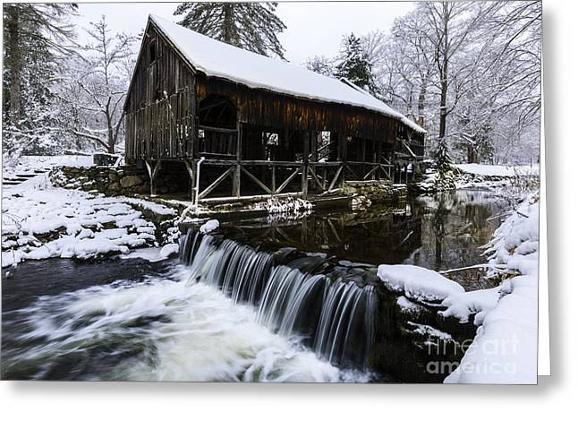 New England Village Greeting Cards - Historic Mill - Vintage 1800s Greeting Card by Thomas Schoeller
