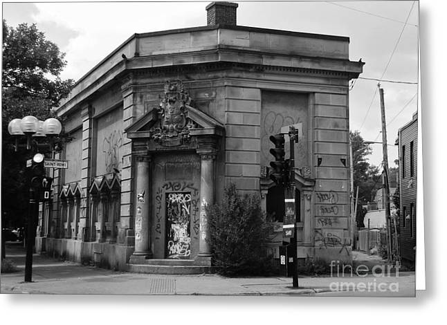 Streets Of Montreal Greeting Cards - Historic Molson Bank St Henri Greeting Card by Reb Frost