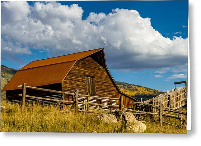 Scenic Drive Greeting Cards - Historic Moore Barn Steamboat Springs CO Greeting Card by Teri Virbickis