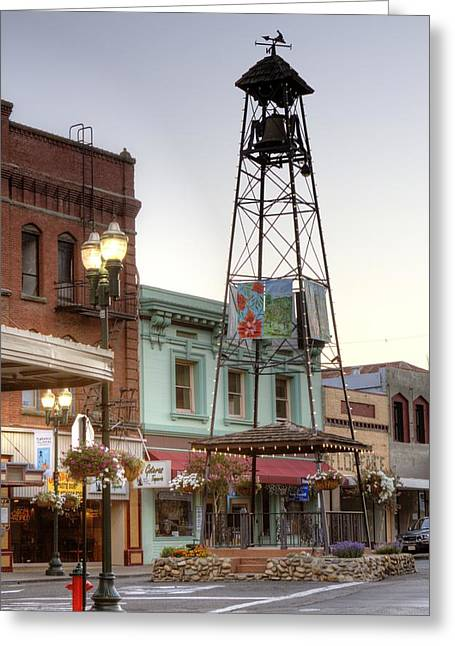 Recently Sold -  - Kinkade Greeting Cards - Historic Placerville Bell Tower Greeting Card by Steve Barr