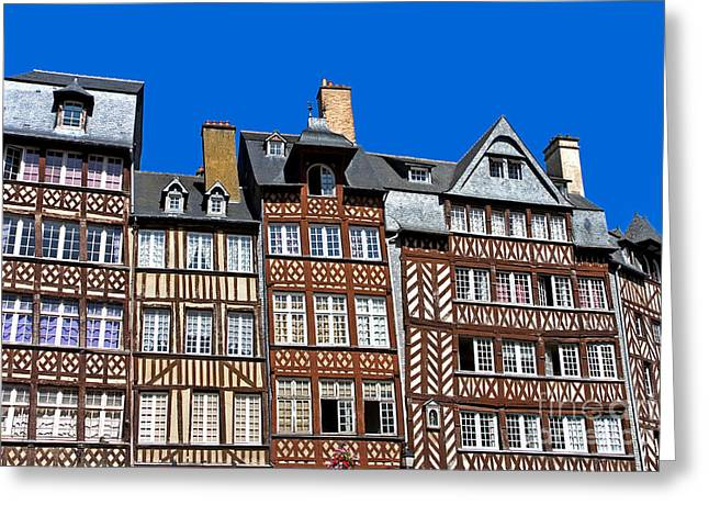 Medieval Style Greeting Cards - Historic Rennes Greeting Card by Jane Rix