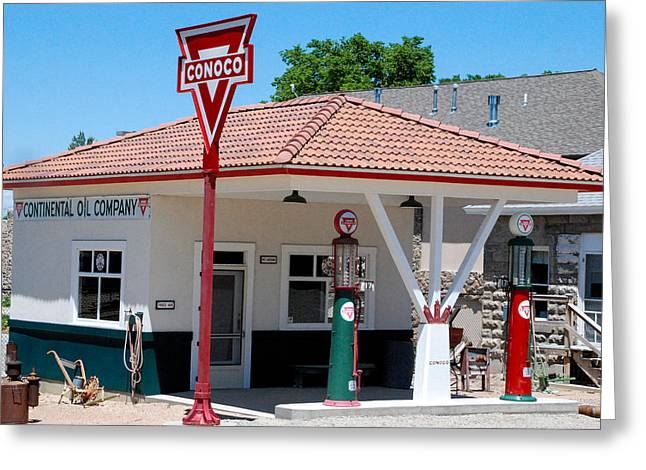 Geobob Greeting Cards - Historic Restored Conoco Gas Station Overland Museum Sterling Colorado Greeting Card by Robert Ford