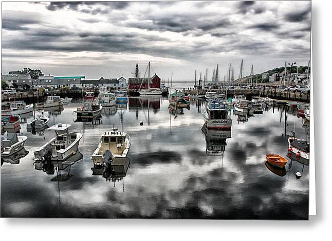 Docked Sailboats Greeting Cards - Historic Rockport Harbor Greeting Card by Stephen Stookey