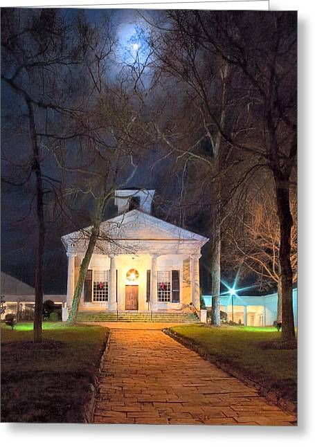 Moonlit Night Greeting Cards - Historic Roswell Presbyterian Church By Night Greeting Card by Mark Tisdale