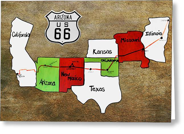 County Greeting Cards - Historic Route 66 - The Mother Road Greeting Card by Christine Till