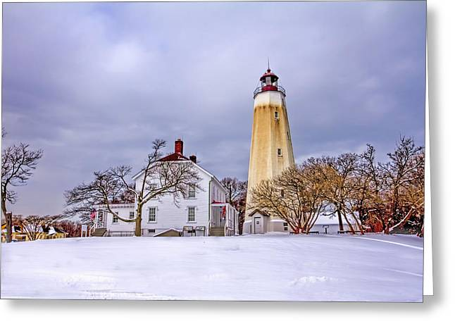 Base Path Greeting Cards - Historic Sandy Hook Lighthouse Greeting Card by Geraldine Scull