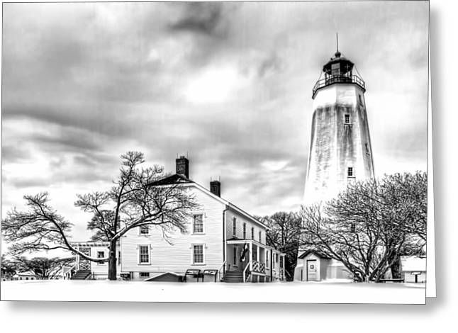 Base Path Greeting Cards - Historic Sandy Hook Lighthouse in black and white Greeting Card by Geraldine Scull