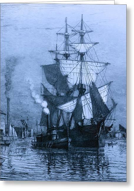 Historic Seaport Blue Schooner Greeting Card by John Stephens