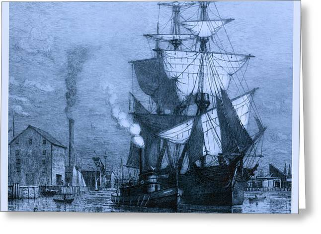 Historic Seaport Blue Schooner Greeting Card by John Stephens
