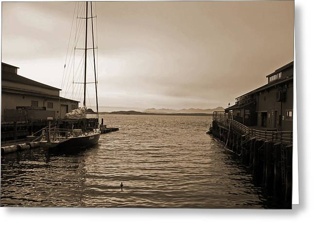 Masts Greeting Cards - Historic Seattle Piers at Dusk Greeting Card by Connie Fox