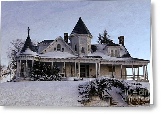 Snow-covered Landscape Greeting Cards - Historic Sidna Allen House Greeting Card by Benanne Stiens