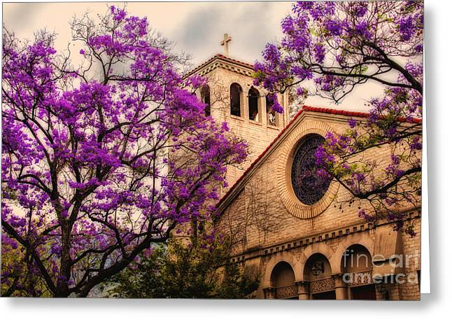 Historic Sierra Madre Congregational Church Among The Purple Jacaranda Trees  Greeting Card by Jerry Cowart